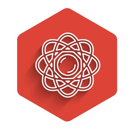 White line Atom icon isolated with long shadow. Symbol of science, education, nuclear physics, scientific research. Red hexagon button. Vector Illustration