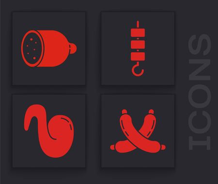 Set Crossed sausage, Salami sausage, Grilled shish kebab on skewer stick and Fried chicken wing icon. Vector.