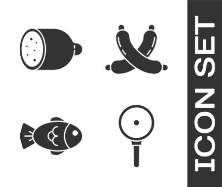 Set Frying pan, Salami sausage, Fish and Crossed sausage icon. Vector.