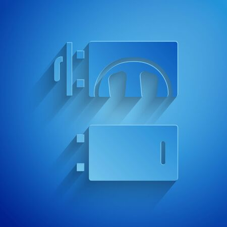 Paper cut Crematorium icon isolated on blue background. Paper art style. Vector