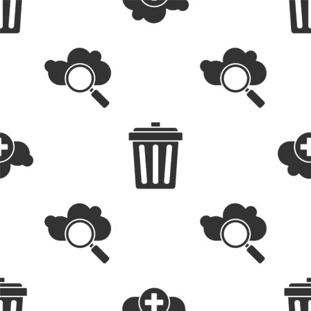 Set Add cloud, Trash can and Search cloud computing on seamless pattern. Vector.