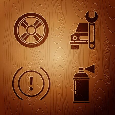 Set Paint spray can, Car wheel, Brake system warning and Car service on wooden background. Vector.