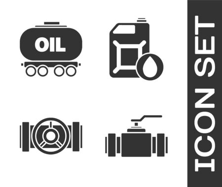 Set Industry metallic pipes and valve, Oil railway cistern, Industry metallic pipes and valve and Canister for motor machine oil icon. Vector.