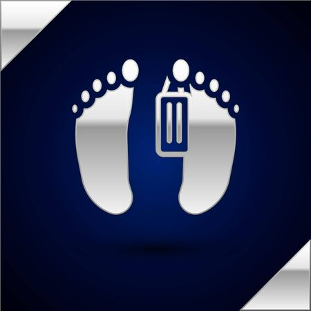 Silver Dead body with an identity tag attached in the feet in a morgue of a hospital icon isolated on dark blue background. Vector.