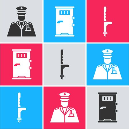Set Police officer, Prison cell door and Police rubber baton icon. Vector.