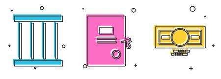 Set Prison window, Lawsuit paper and Stacks paper money cash icon. Vector.