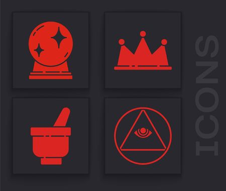 Set Masons, Magic ball, Crown and Magic mortar and pestle icon. Vector.