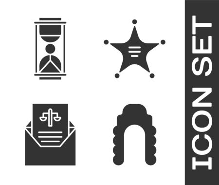 Set Judge wig, Old hourglass with sand, Subpoena and Hexagram sheriff icon. Vector.