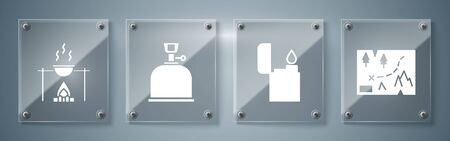 Set Folded map with location, Lighter, Camping gas stove and Campfire and pot. Square glass panels. Vector.