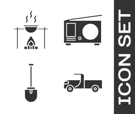 Set Pickup truck, Campfire and pot, Shovel and Radio with antenna icon. Vector.