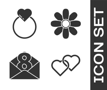 Set Two Linked Hearts, Wedding rings, Envelope with 8 March and Flower icon. Vector.