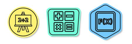 Set line Calculator, Feather and inkwell and Equation solution. Colored shapes. Vector.