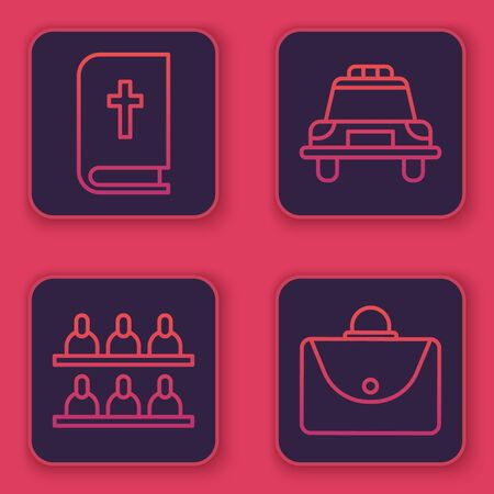 Set line Holy bible book, Jurors, Police car and flasher and Briefcase. Blue square button. Vector.