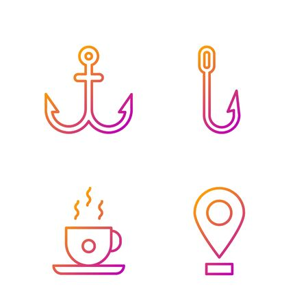 Set line Location, Coffee cup, Anchor and Fishing hook. Gradient color icons. Vector
