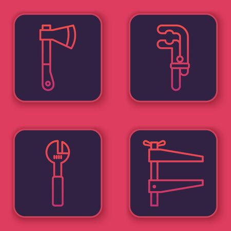 Set line Wooden axe, Adjustable wrench, Clamp tool and Clamp tool. Blue square button. Vector. Ilustración de vector