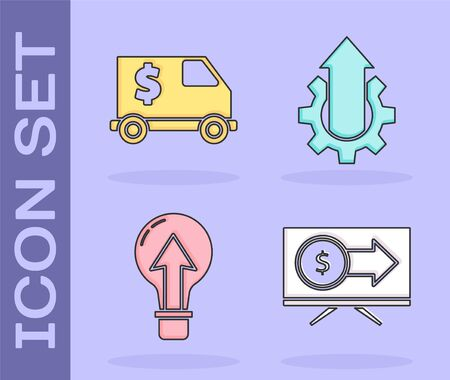 Set Monitor with dollar, Armored truck, Light bulb and Arrow growth gear business icon. Vector. 向量圖像