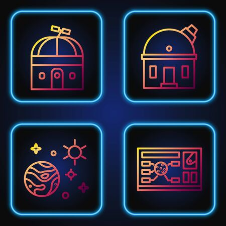 Set line Futuristic hud interface, Space and planet, Astronomical observatory and Astronomical observatory. Gradient color icons. Vector. Vektoros illusztráció