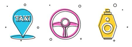 Set Map pointer with taxi, Steering wheel and Car key with remote icon. Vector.