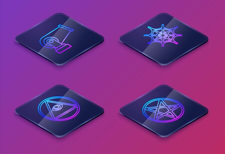 Set Isometric line Cannon, Masons, Spider web and Pentagram in a circle. Blue square button. Vector.