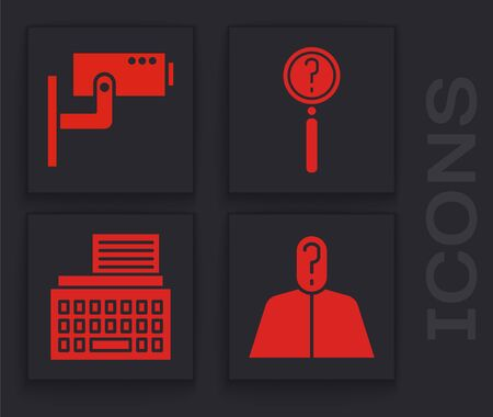Set Anonymous with question mark, Security camera, Magnifying glass with search and Retro typewriter icon. Vector. Vectores