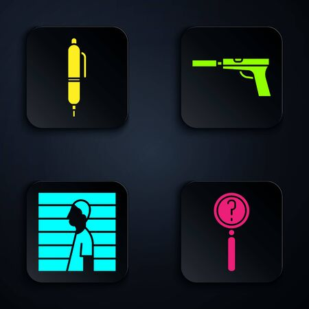 Set Magnifying glass with search, Pen, Suspect criminal and Pistol or gun with silencer. Black square button. Vector.