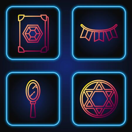 Set line Star of David, Magic hand mirror, Ancient magic book and Carnival garland with flags. Gradient color icons. Vector.