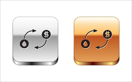 Black Oil exchange, water transfer, convert icon isolated on white background. Silver-gold square button. Vector Illustration.