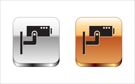 Black Security camera icon isolated on white background. Silver-gold square button. Vector Illustration 版權商用圖片 - 148098657