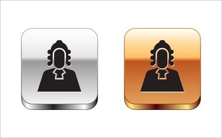 Black Judge icon isolated on white background. Silver-gold square button. Vector Illustration.