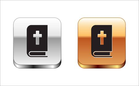Black Holy bible book icon isolated on white background. Silver-gold square button. Vector Illustration. 일러스트