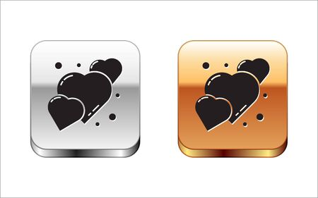 Black Heart icon isolated on white background. Romantic symbol linked, join, passion and wedding. 8 March. Happy Women Day. Silver-gold square button. Vector Illustration. 版權商用圖片 - 148096986