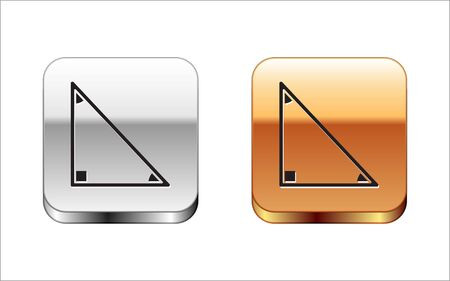 Black Triangle math icon isolated on white background. Silver-gold square button. Vector Illustration.