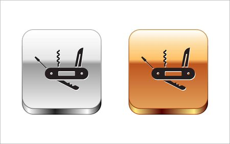 Black Swiss army knife icon isolated on white background. Multi-tool, multipurpose penknife. Multifunctional tool. Silver-gold square button. Vector Illustration.
