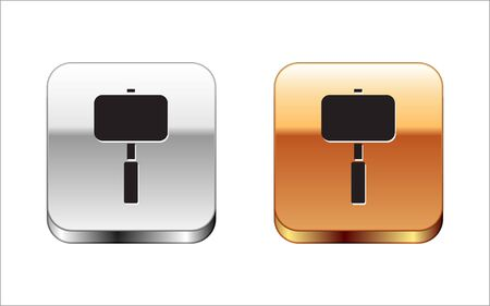 Black Sledgehammer icon isolated on white background. Silver-gold square button. Vector Illustration. Ilustração
