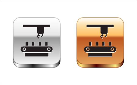 Black Factory conveyor system belt icon isolated on white background. Robot industry concept. Silver-gold square button. Vector Illustration. 向量圖像