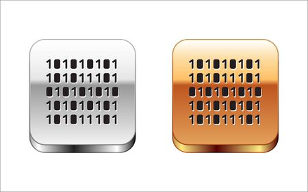 Black Binary code icon isolated on white background. Silver-gold square button. Vector Illustration.