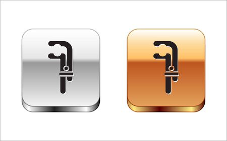 Black Clamp tool icon isolated on white background. Locksmith tool. Silver-gold square button. Vector Illustration.