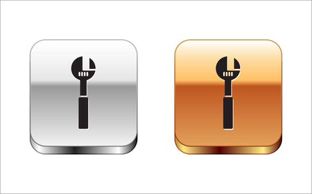 Black Adjustable wrench icon isolated on white background. Silver-gold square button. Vector Illustration