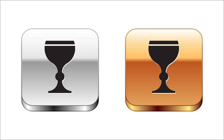 Black Wine glass icon isolated on white background. Wineglass icon. Goblet symbol. Glassware sign. Happy Easter. Silver-gold square button. Vector Illustration.