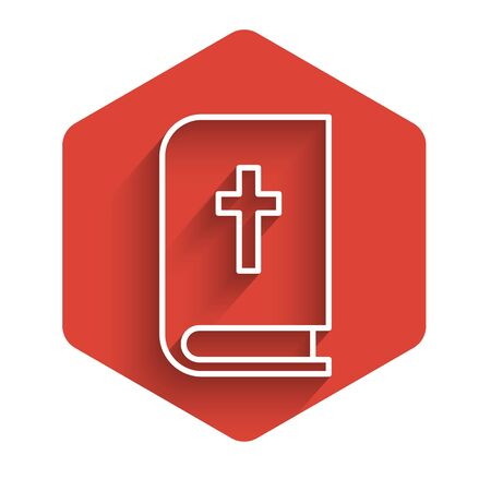 White line Holy bible book icon isolated with long shadow. Red hexagon button. Vector Illustration.