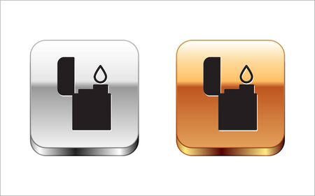 Black Lighter icon isolated on white background. Silver-gold square button. Vector Illustration