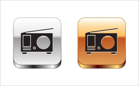 Black Radio with antenna icon isolated on white background. Silver-gold square button. Vector Illustration.
