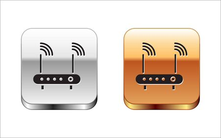 Black Router and wifi signal symbol icon isolated on white background. Wireless modem router. Computer technology internet. Silver-gold square button. Vector Illustration.