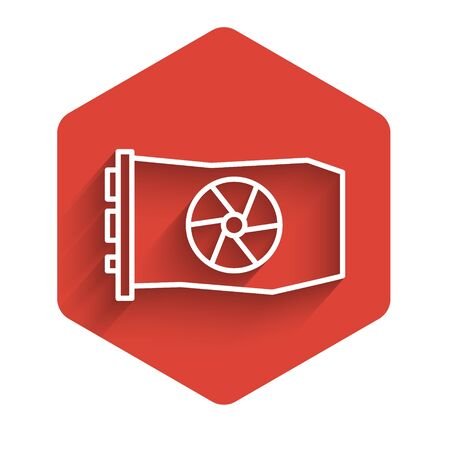 White line Video graphic card icon isolated with long shadow. Red hexagon button. Vector Illustration. Illustration