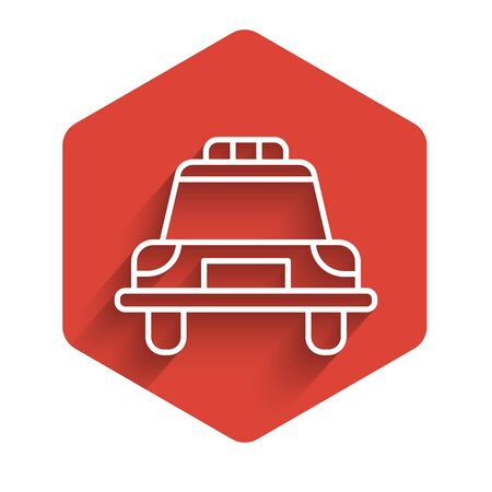 White line Police car and police flasher icon isolated with long shadow. Emergency flashing siren. Red hexagon button. Vector Illustration.