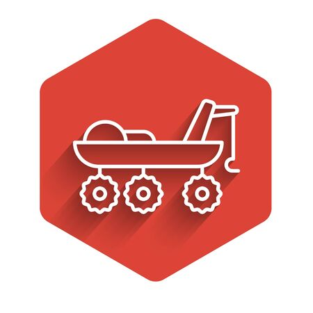 White line Mars rover icon isolated with long shadow. Space rover. Moonwalker sign. Apparatus for studying planets surface. Red hexagon button. Vector Illustration.