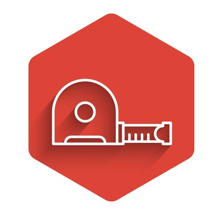 White line Roulette construction icon isolated with long shadow. Tape measure symbol. Red hexagon button. Vector Illustration. Stock Illustratie