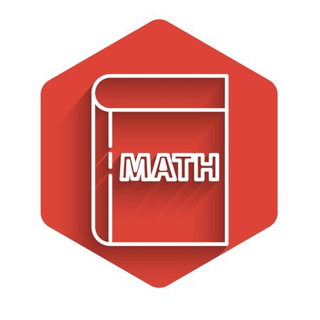 White line Triangle math icon isolated with long shadow. Red hexagon button. Vector Illustration.