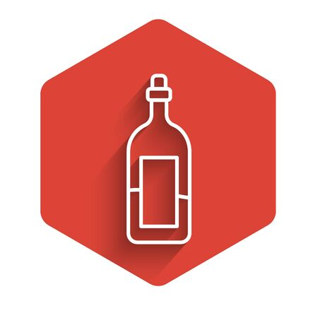 White line Bottle of wine icon isolated with long shadow. Red hexagon button. Vector Illustration.