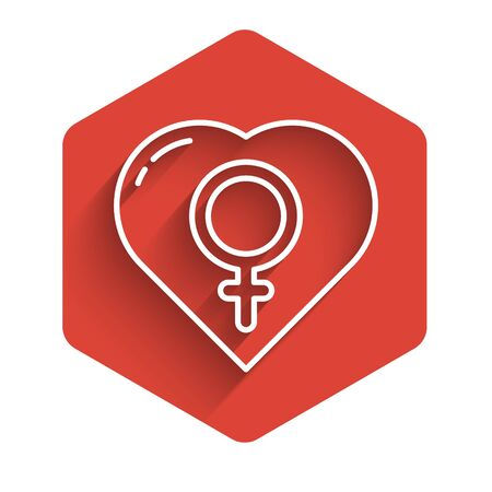 White line Female gender in heart icon isolated with long shadow. Venus symbol. The symbol for a female organism or woman. Red hexagon button. Vector Illustration.